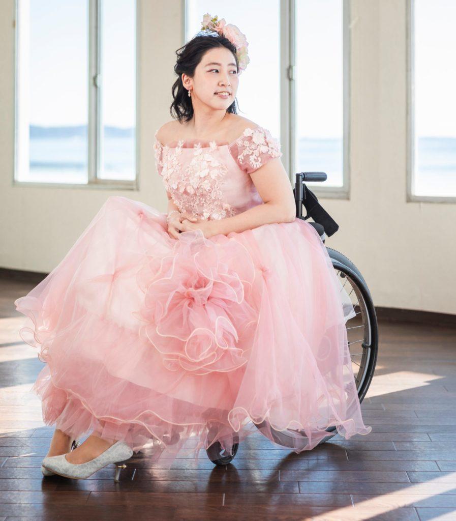 車椅子カラードレス